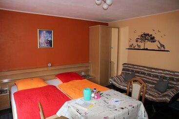 Appartement - DU/WC - Balkon - Mikrowelle - 2Plattenherd - Kaffeemaschine - Wasserkocher - Eierkocher  - Toaster - LED-TV