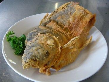 Fränkischer Karpfen gebacken mithausgemachtem Kartoffelsalat, Endivien- und Selleriesalat