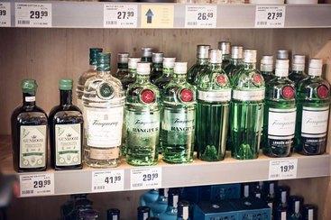 reichhaltige Gin-Auswahl im Schnapsstodl