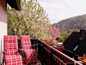 Die Aussicht von ihrem Balkon auf die wunderschöne Landschaft von Muggendorf