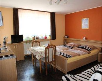 Appartement mit Schlafcouch, Singleküche mit Kühlschrank u. Gefrierfach, Heissluft-Mikrowelle, 2Platten-Herd, Flat-TV, Balkon