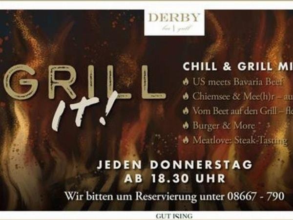 Jeden Donnerstag ab 18:30 Uhr Chill & Grill mit Musik in unserer Derby bar | grill