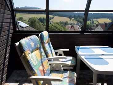 Frankenwald Ferienhaus Eisel Balkon