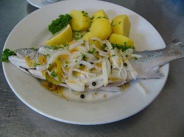 Forelle blau im Wurzelsud mit Sahnemeerrettich oder heißer Butter und Salzkartoffeln