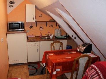 Ferienwohnung Relax - Wohnküche mit Heissluft Mikrowelle, Kühlschrank mit Gefrierfach, 2 Platten-Herd uvm.