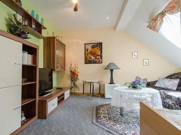 Großes Wohnzimmer mit Flat-TV