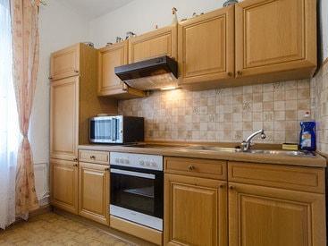 Küche im Appartement Gästehaus des Hotels Krone in Gößweinstein